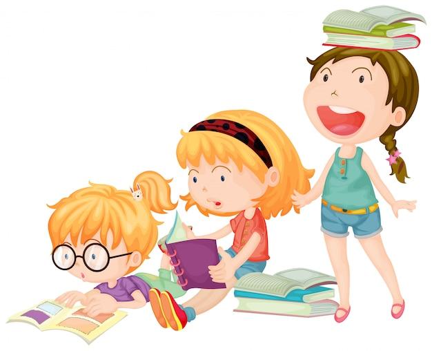 3人の女の子は本を読んで楽しんでいます