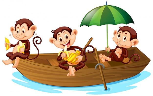 ボートに乗ってバナナを食べる3匹のサル