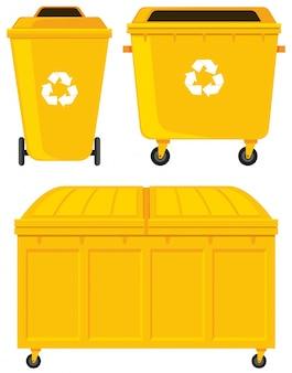 3つの異なるデザインのゴミ箱
