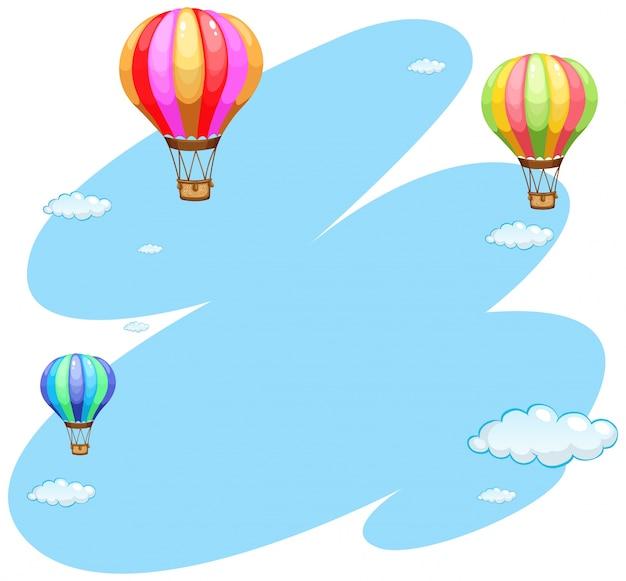 空の3つの風船のある背景テンプレート