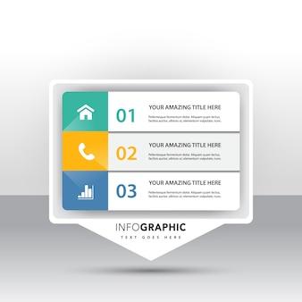 マーケティングアイコン付き3つのオプションのインフォグラフィック