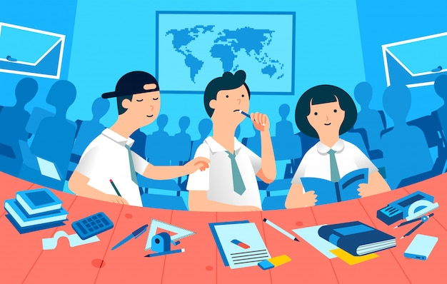 教室で勉強する学生、3人のキャラクターの男の子と女の子、背景イラストとして多くのクラスメートのシルエット