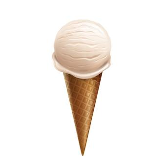 3つの現実的なバニラアイスクリームは、ワッフルコーンの白い背景にある。