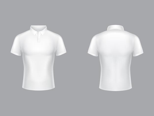 Белая рубашка поло 3 реалистичная иллюстрация теннисная футболка с воротником и короткими рукавами.