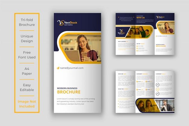 黄色3つ折りビジネスパンフレットテンプレート