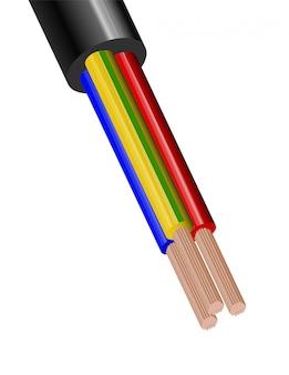 白い背景に分離された柔軟な3線電気ケーブル。色絶縁の銅多芯ケーブル。断面の拡大図。