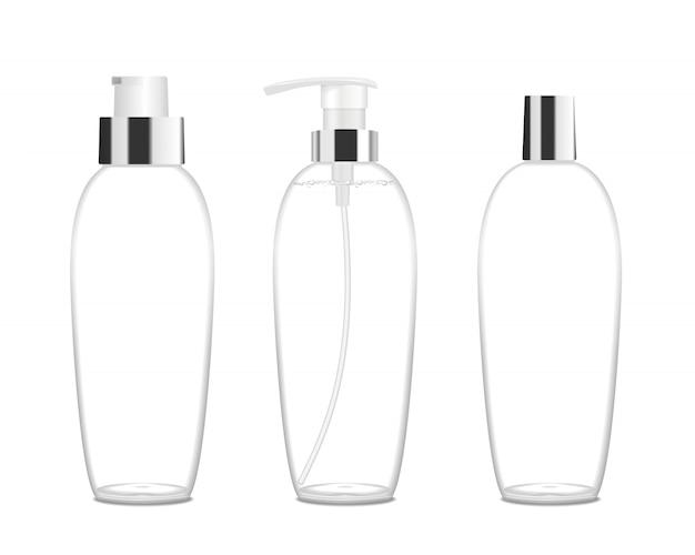 ポンプが付いている3つの透明な化粧品の管。