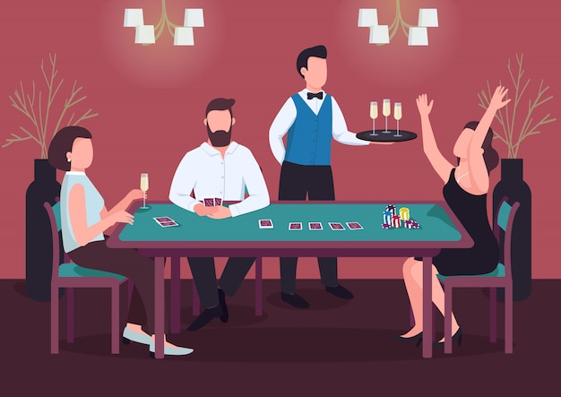 カジノのカラーイラスト。 3人がポーカーをプレーします。緑のテーブルで女性勝利カードゲーム。賭けをするためのチップ。背景にウェイターとインテリアのギャンブラーの漫画のキャラクター