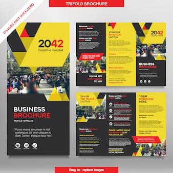 3つ折りレイアウトのビジネスパンフレットテンプレート。交換可能なイメージの企業デザインリーフレット。