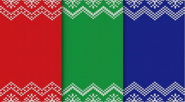 3つのニットクリスマス背景のセット。シームレスな幾何学的な飾り。