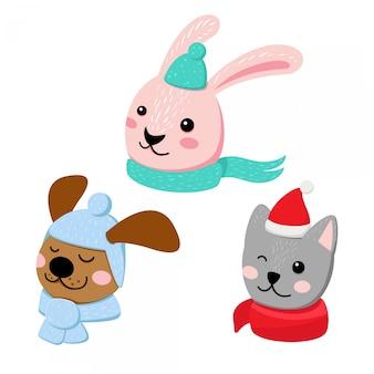 冬のアクセサリーと3つの動物のセット。ウサギ、猫、犬の頭フラットイラスト