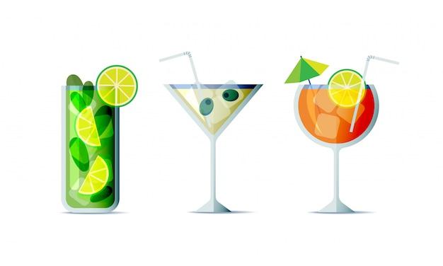トレンディなフラットなデザインスタイルでカクテルアイコンを設定します。デザインメニューの3つの人気のあるアルコール飲料