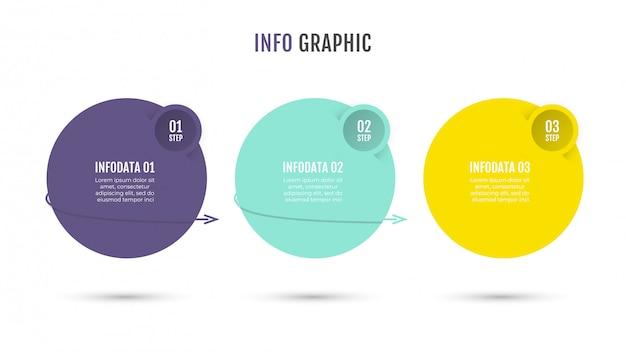 番号オプションと3つのステップ、プロセスを持つインフォグラフィックサークルデザインテンプレート。