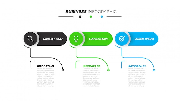 3つのステップ、オプションを持つビジネスインフォグラフィックテンプレート。