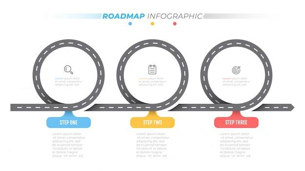Дорожная карта инфографики шаблон. временная шкала с 3 шагами, варианты. бизнес концепции дизайна этикетки и значки.