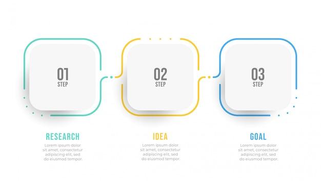 Хронология инфографики дизайн этикетки с числом шагов. бизнес-концепция с 3 вариантами.