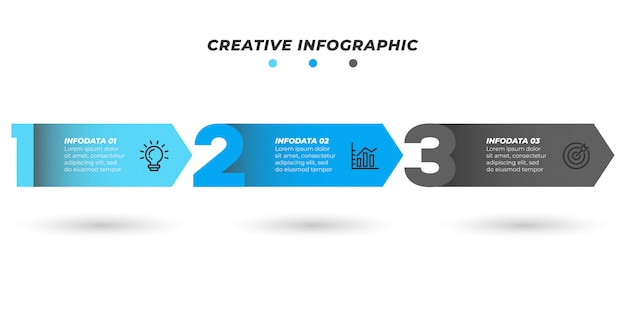 番号レイアウトのインフォグラフィック矢印デザイン。 3つの番号オプションまたはステップを含むビジネステンプレート。