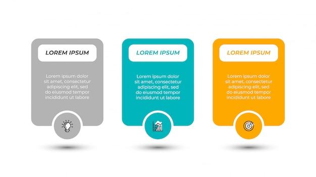 プレゼンテーションインフォグラフィックラベルデザインテンプレート。マーケティングのアイコンと3つのステップ、オプションのビジネスコンセプト。ベクトルイラスト。