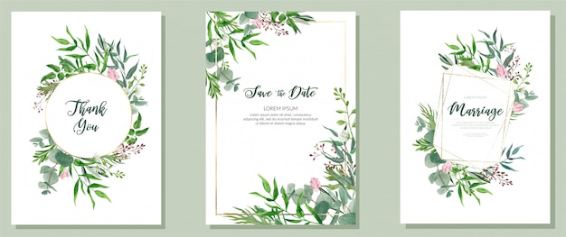 3つの結婚式のカード、水彩画の緑とゴールデンフレームのセット