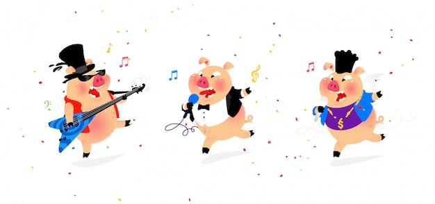 3人の陽気な豚ミュージシャンのイラスト。