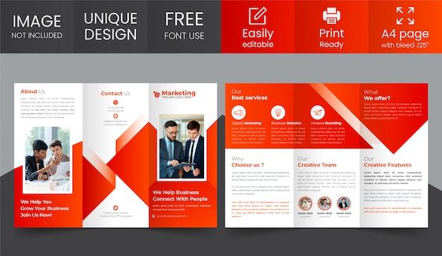 企業の3つ折りパンフレットのデザインテンプレート