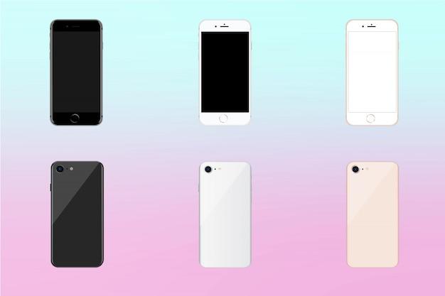 3色のスマートフォンモックアップ