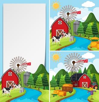 牛と納屋の3つのシーン