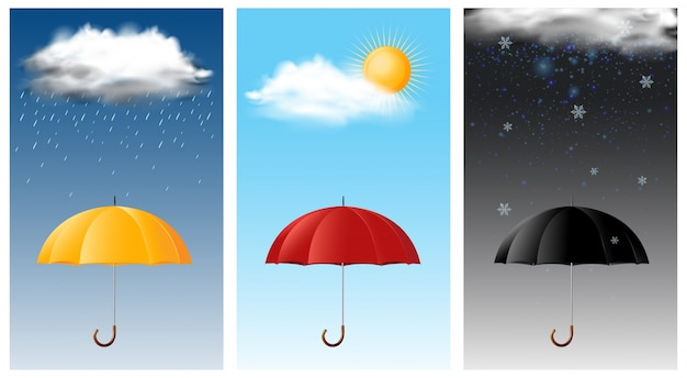 気象の異なる3つの空のシーン