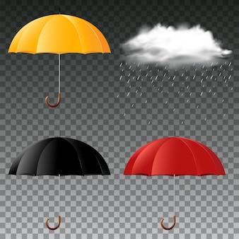 3色と雨雲の傘