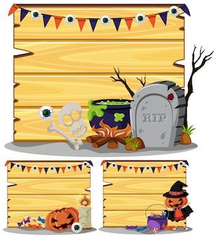 ハロウィンのテーマの3つの木製の看板