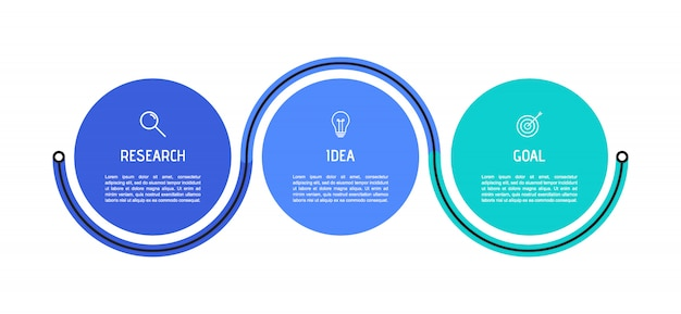 ビジネスプロセスインフォグラフィックテンプレート。番号3のオプションまたはステップを持つカラフルな円形要素。