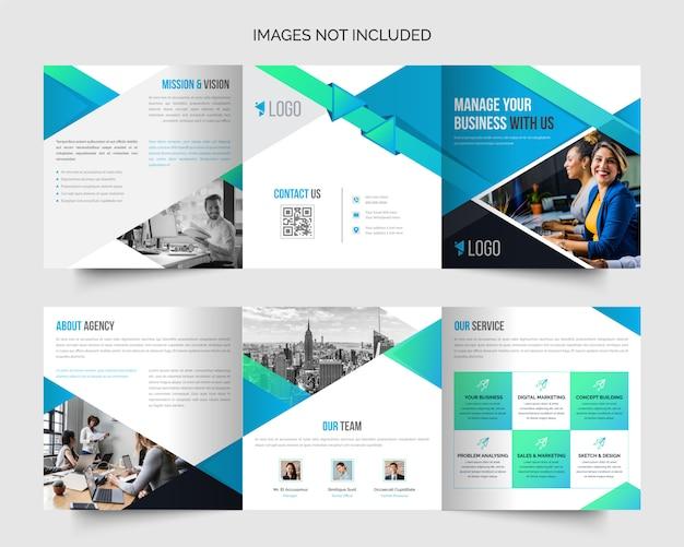 企業正方形のプロフェッショナルなビジネス3つ折りパンフレットのデザインテンプレート