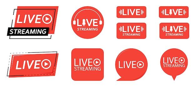 ライブストリーミングアイコンのセットです。赤いシンボルとライブストリーミング、放送、オンラインストリームのボタン。テレビ、番組、映画、ライブパフォーマンスの3番目のテンプレート。図。