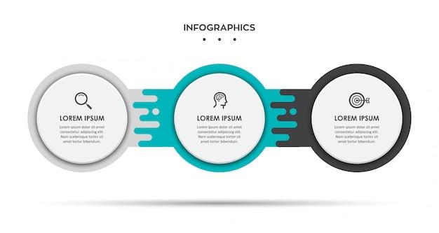 Инфографический шаблон дизайна этикетки с символами и 3 вариантами или шагами.