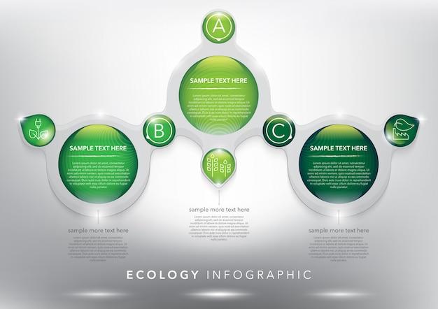 3つのオプションの抽象的な情報グラフィックテンプレート。生態学、環境概念に使用できます。