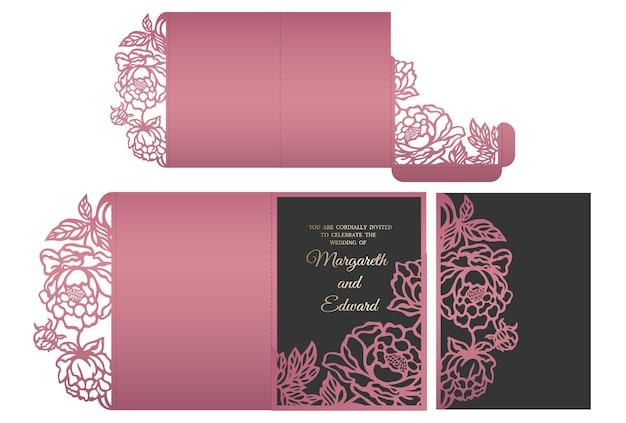 フローラルレースレーザーは、結婚式の招待状用の3つ折りポケットエンベロープをカットしました。結婚式招待モックアップ。ポケット封筒デザイン。