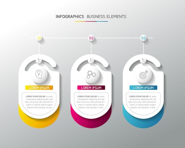 Векторные элементы для инфографики. презентация и график. шаги или процессы. 3 шага