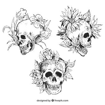 3個の花の頭蓋骨の手描きパック