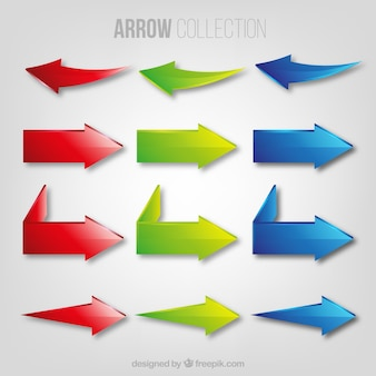 3色のコレクションの矢