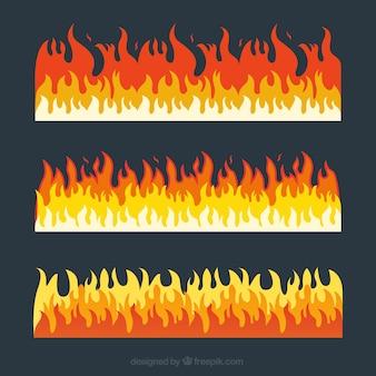 色の異なる3つの火災の境界線のパック