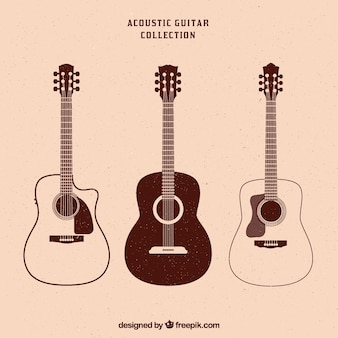 3つのアコースティックギターのヴィンテージコレクション