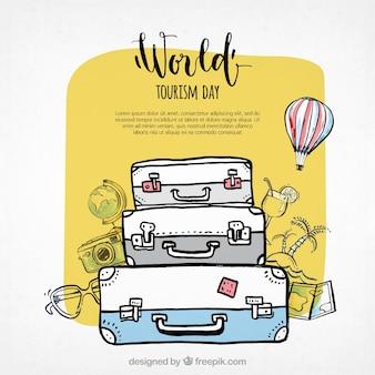 世界観光日、3つのスーツケース