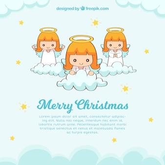 3つの天使とかわいいクリスマスの背景