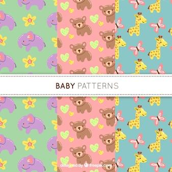 3つのかわいい赤ちゃんパターンのコレクション