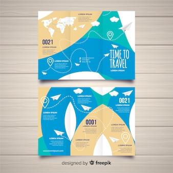 3つ折りビジネスパンフレットのテンプレート