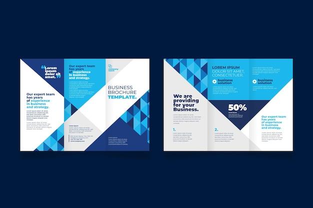 フロントとバックの青い形の3つ折りパンフレット