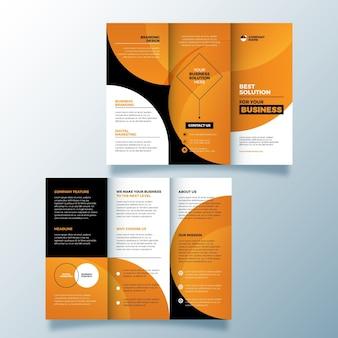 抽象的な3つ折りパンフレットのテンプレートデザイン