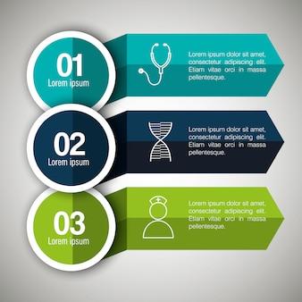 3つのステップを持つ医療インフォグラフィック
