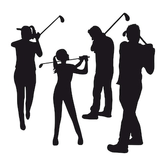 3つのゴルファー、白背景ベクトルイラスト