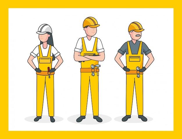 3人の労働者、イラスト